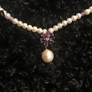 Pearl Amethyst choker style necklace